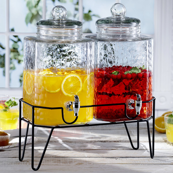 Double 1 5 Gallon Style Setter Hamburg Gl Beverage Dispenser With Metal Stand