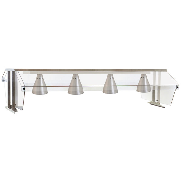"""Eagle Group BS2-HT4-IL 63 1/2"""" x 36 1/4"""" Stainless Steel Buffet Shelf with 2 Sneeze Guards for 4 Well Food Tables"""
