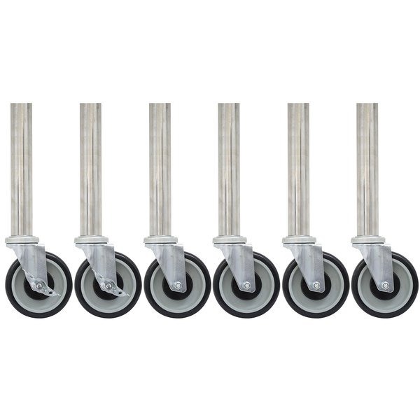 """Advance Tabco TA-25S-6 5"""" Stainless Steel Legs with 5"""" Swivel Stem Casters - 6/Set"""