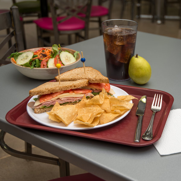 "Carlisle CT101461 Customizable Cafe 10"" x 14"" Burgundy Standard Plastic Fast Food Tray - 24/Case"