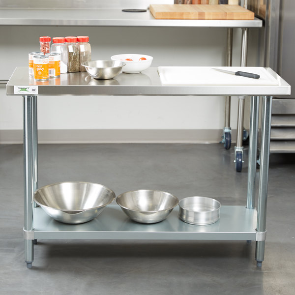 "Regency 18"" x 48"" 18-Gauge 304 Stainless Steel Commercial Work Table with Galvanized Legs and Undershelf"