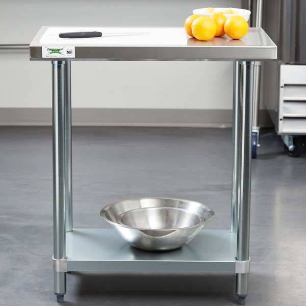 """Regency 18"""" x 30"""" 18-Gauge 304 Stainless Steel Commercial Work Table with Galvanized Legs and Undershelf Main Image 3"""