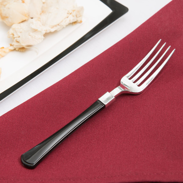 "Silver Visions 7"" Heavy Weight Plastic Fork with Black Handle - 20/Pack"