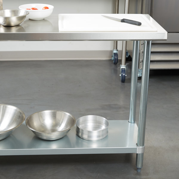 "Regency 18"" x 60"" 18-Gauge 304 Stainless Steel Commercial Work Table with Galvanized Legs and Undershelf Main Image 3"