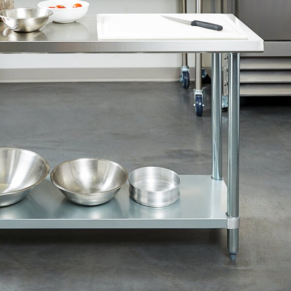 """Regency 18"""" x 60"""" 18-Gauge 304 Stainless Steel Commercial Work Table with Galvanized Legs and Undershelf Main Image 3"""