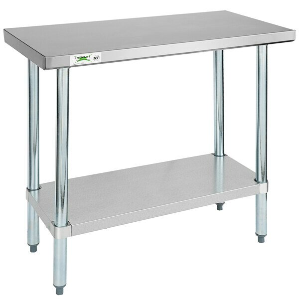KPS Commercial Stainless Steel Work Prep Table 24 x 24 with Double Overshelf 12 x 24 NSF