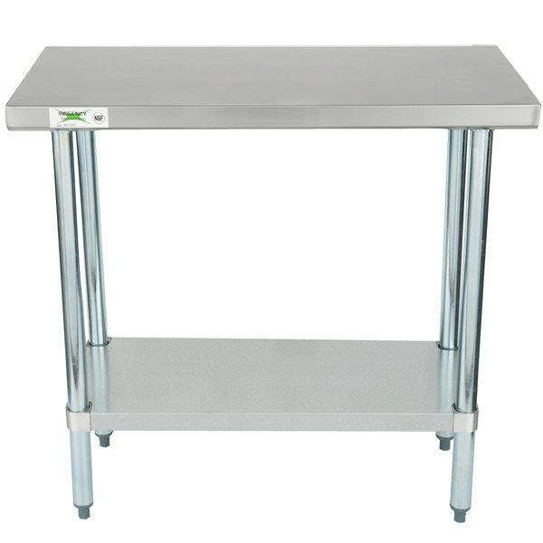 """Regency 18"""" x 36"""" 18-Gauge 304 Stainless Steel Commercial Work Table with Galvanized Legs and Undershelf"""