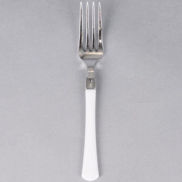 Silver Visions 7 inch Heavy Weight Plastic Fork with White Handle - 480/Case
