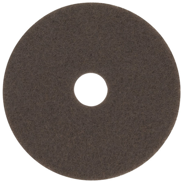 "3M 7100 16"" Brown Stripping Floor Pad - 5/Case Main Image 1"