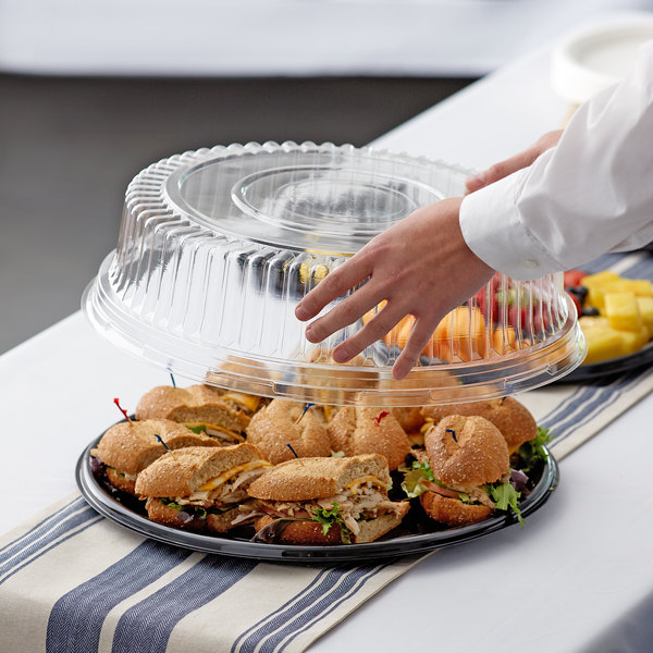"Visions 16"" Clear PET Plastic Round Catering Tray High Dome Lid - 5/Pack Main Image 2"