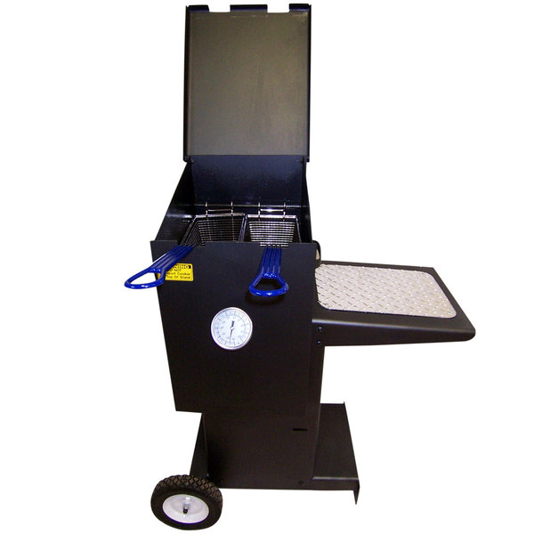 R & V Works FF2-R-SS-ST 4 Gallon Stainless Steel Outdoor Cajun Deep Fryer with Stand - 90,000 BTU