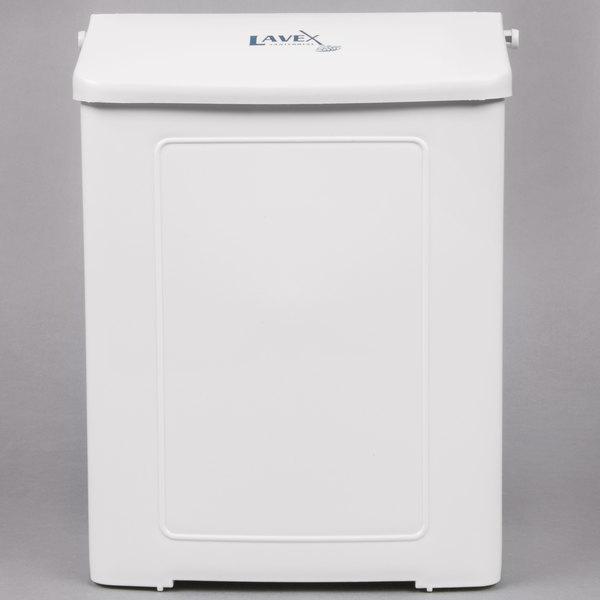 Lavex Janitorial White Plastic Wall-Mount Sanitary Napkin Receptacle (IMP 1102)