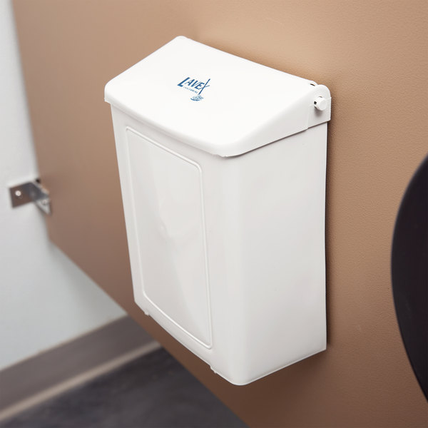 Lavex Janitorial White Plastic Wall-Mount Sanitary Napkin Receptacle (IMP 1102) Main Image 6