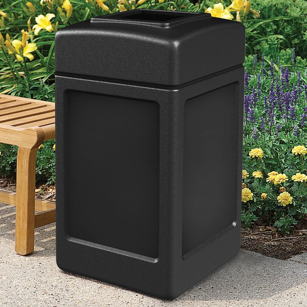 Commercial Zone 732101 PolyTec 42 Gallon Square Black Waste Container Main Image 4