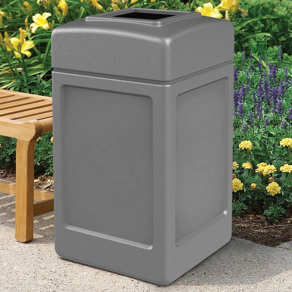 Commercial Zone 732103 PolyTec 42 Gallon Square Gray Waste Container Main Image 4