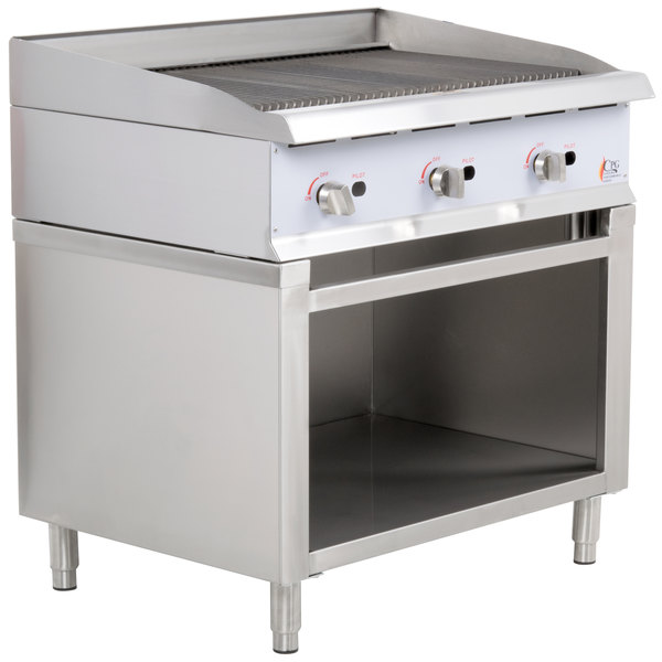 "Cooking Performance Group 36CBRSBNL 36"" Gas Radiant Charbroiler with Cabinet Base - 120,000 BTU Main Image 1"
