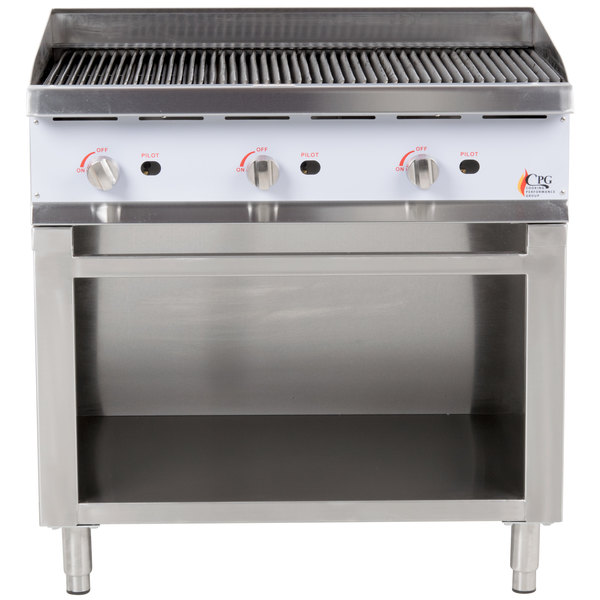 Cooking Performance Group CBR36 36 inch Gas Radiant Charbroiler with Cabinet Base - 120,000 BTU