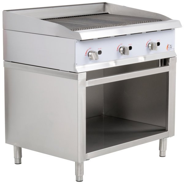 "Cooking Performance Group 36CBLSBNL 36"" Gas Lava Briquette Charbroiler with Cabinet Base - 120,000 BTU"