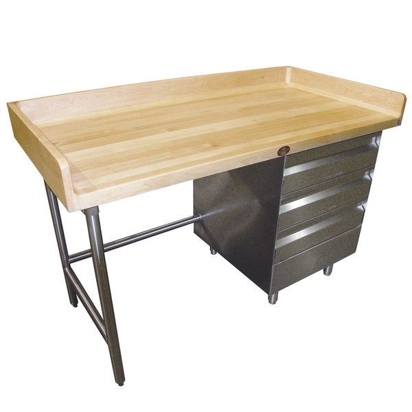 """Right-Side Drawer Unit Advance Tabco BST-304 Wood Top Baker's Table with Stainless Steel Base and Drawers - 30"""" x 48"""""""