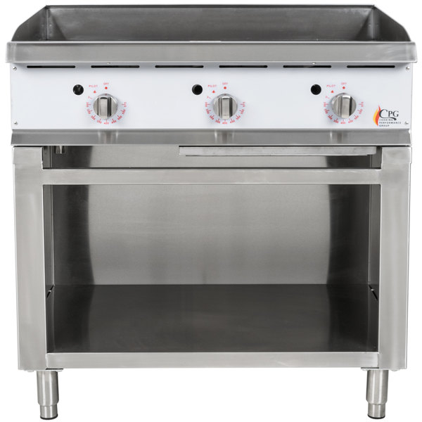 Cooking Performance Group 36GTSBNL 36 inch Gas Griddle with Thermostatic Controls and Cabinet Base - 90,000 BTU
