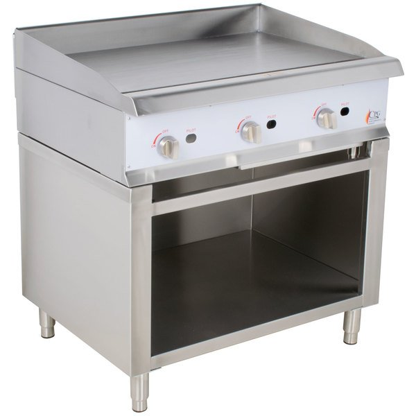 """Cooking Performance Group 36GMSBNL 36"""" Gas Griddle with Manual Controls and Cabinet Base - 90,000 BTU"""