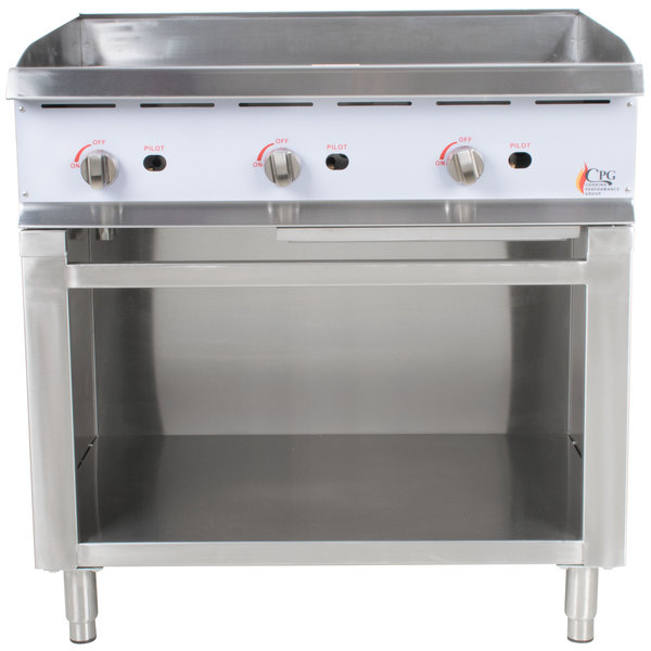 Cooking Performance Group 36GMSBNL 36 inch Gas Griddle with Manual Controls and Cabinet Base - 90,000 BTU