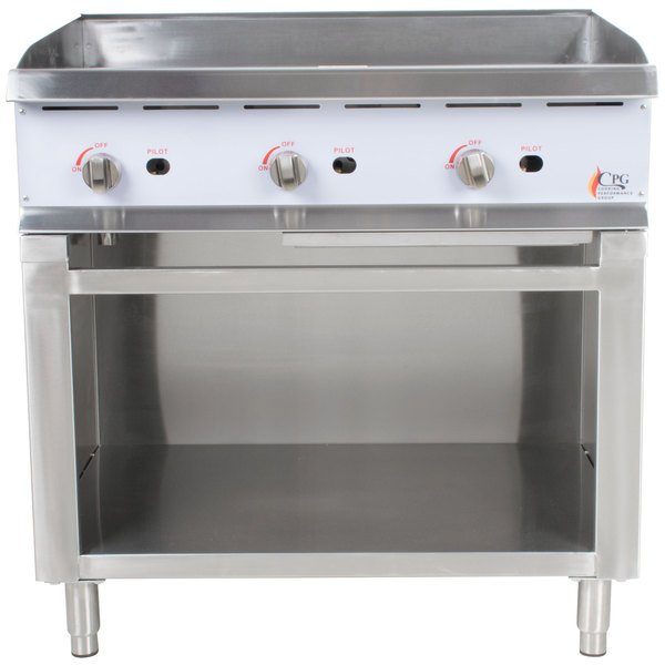 Cooking Performance Group G36 36 inch Gas Griddle with Manual Controls and Cabinet Base - 90,000 BTU