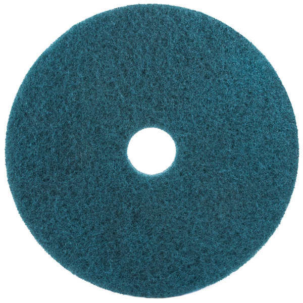 """3M 5300 15"""" Blue Cleaning Floor Pad - 5/Case"""