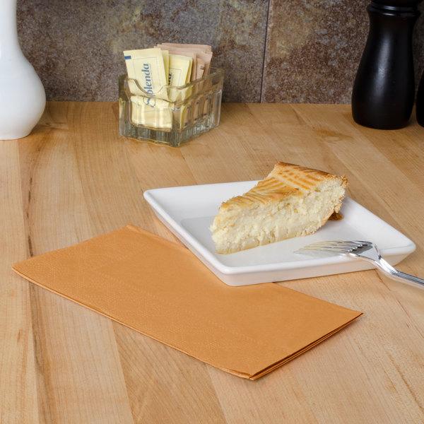 "Glittering Gold Paper Dinner Napkins, 2-Ply, 15"" x 17"" - Hoffmaster 180545 - 125/Pack"