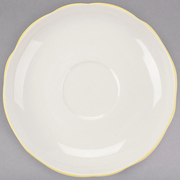 "CAC SC-36G Seville 4 1/2"" Ivory (American White) Scalloped Edge China Saucer with Gold Band - 36/Case"