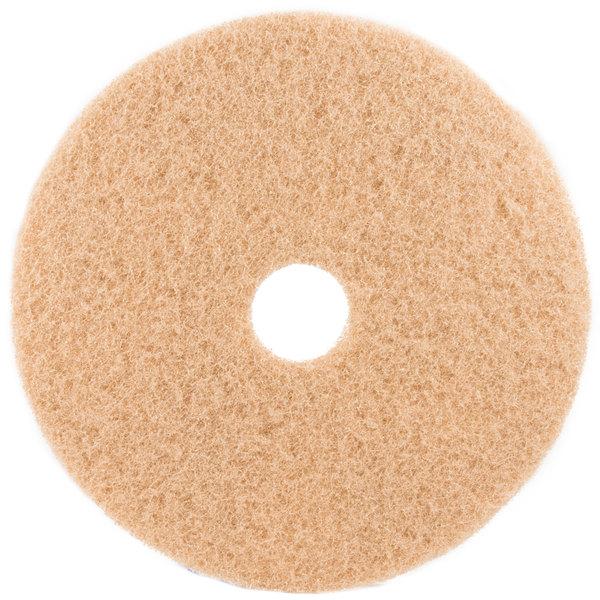 "3M 3400 27"" Tan Burnishing Floor Pad - 5/Case Main Image 1"