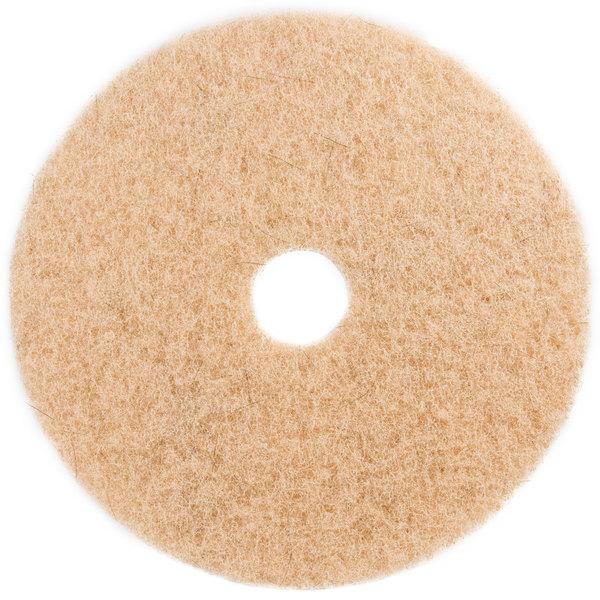 "3M 3500 17"" Natural Blend Tan Heavy Duty Burnishing Floor Pad - 5/Case Main Image 1"