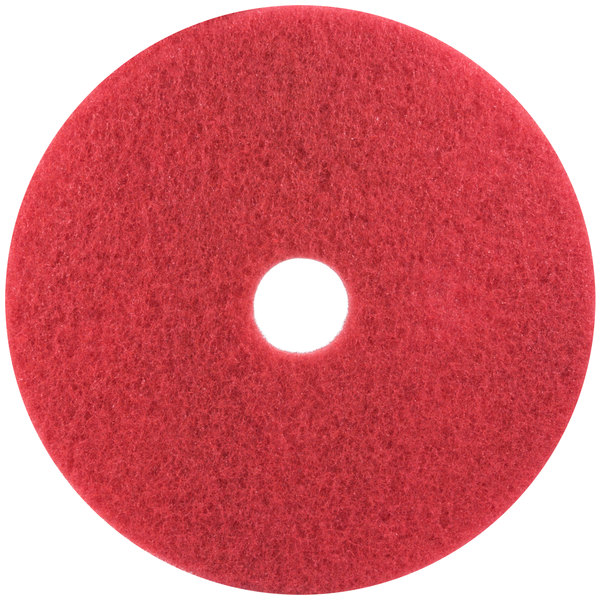"""3M 5100 14"""" Red Buffing Floor Pad - 5/Case"""