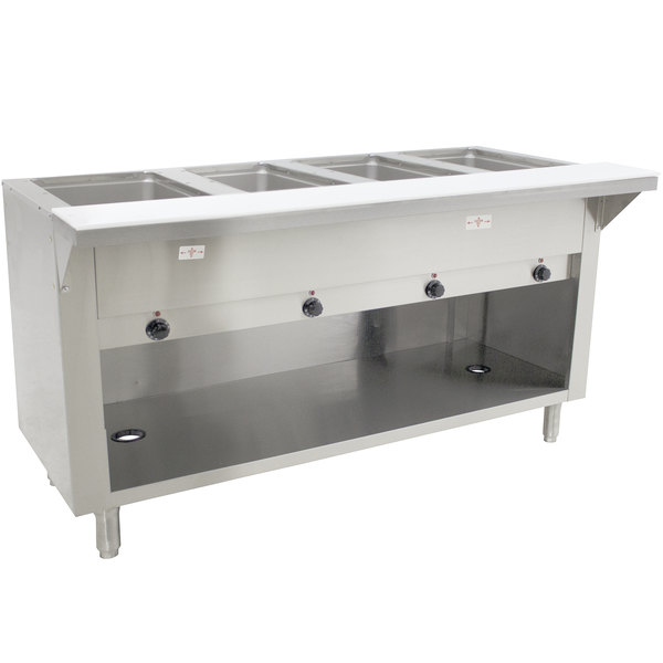 Advance Tabco SW-4E-120-BS-T Four Pan Electric Hot Food Table with Thermostatic Control and Enclosed Base - Sealed Well, 120V
