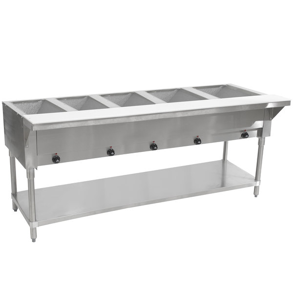 Advance Tabco SW-5E-240-T Five Pan Electric Hot Food Table with Thermostatic Control and Undershelf - Sealed Well