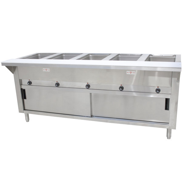 Advance Tabco SW-5E-240-DR-T Five Pan Electric Hot Food Table with Thermostatic Control, Enclosed Base, and Sliding Doors - Sealed Well