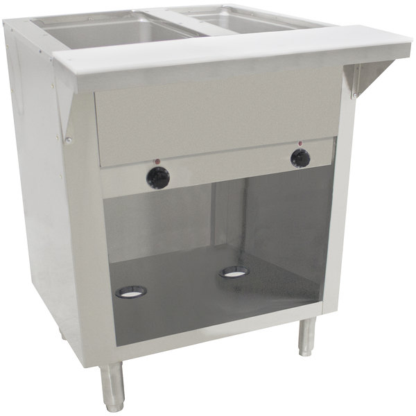 Advance Tabco SW-2E-240-BS-T Two Pan Electric Hot Food Table with Thermostatic Control and Enclosed Base - Sealed Well, 208/240V