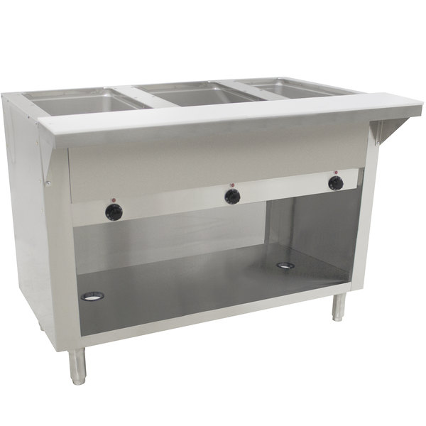Advance Tabco SW-3E-120-BS-T Three Pan Electric Hot Food Table with Thermostatic Control and Enclosed Base - Sealed Well, 120V