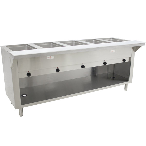 Advance Tabco SW-5E-240-BS-T Five Pan Electric Hot Food Table with Thermostatic Control and Enclosed Base - Sealed Well