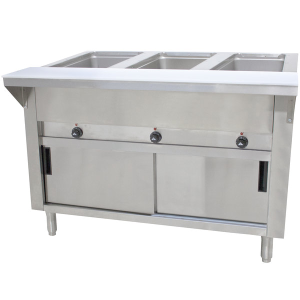 Advance Tabco SW-3E-240-DR-T Three Pan Electric Hot Food Table with Thermostatic Control, Enclosed Base, and Sliding Doors - Sealed Well, 208/240V