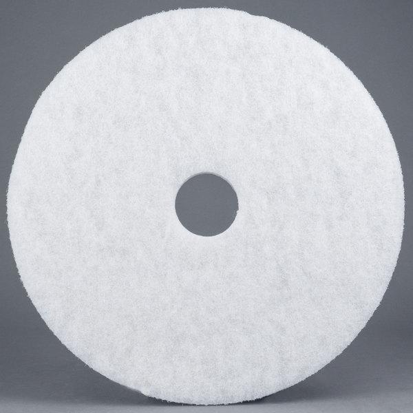 "3M 4100 17"" White Super Polishing Floor Pad - 5/Case"