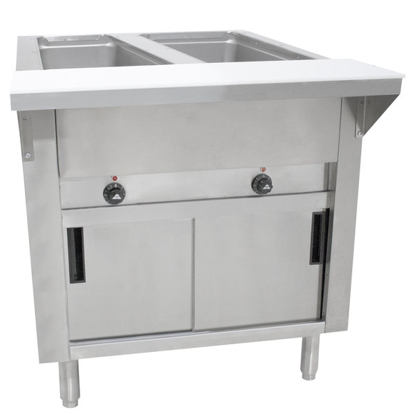 Advance Tabco SW-2E-240-DR-T Two Pan Electric Hot Food Table with Thermostatic Control, Enclosed Base, and Sliding Doors - Sealed Well, 208/240V