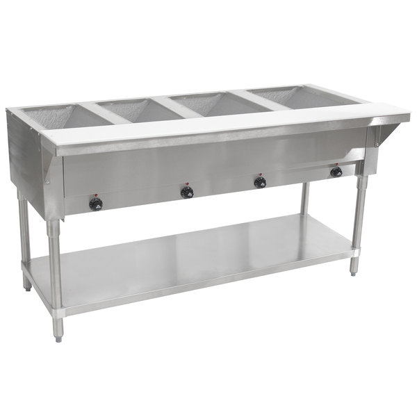 Advance Tabco SW-4E-240-T Four Pan Electric Hot Food Table with Thermostatic Control and Undershelf - Sealed Well, 240V