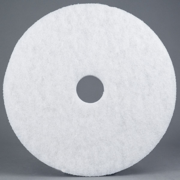 "3M 4100 24"" White Super Polishing Floor Pad - 5/Case Main Image 1"