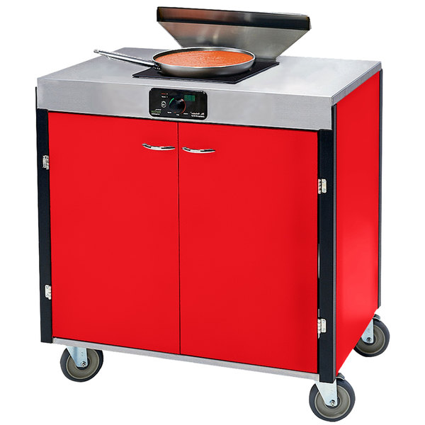 "Lakeside 2065 Creation Express Mobile Cooking Cart with 1 Induction Burner, 1 Filtration Unit, and Red Laminate Finish - 22"" x 34"" x 40 1/2"""