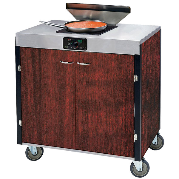 "Lakeside 2065 Creation Express Mobile Cooking Cart with 1 Induction Burner, 1 Filtration Unit, and Red Maple Laminate Finish - 22"" x 34"" x 40 1/2"""