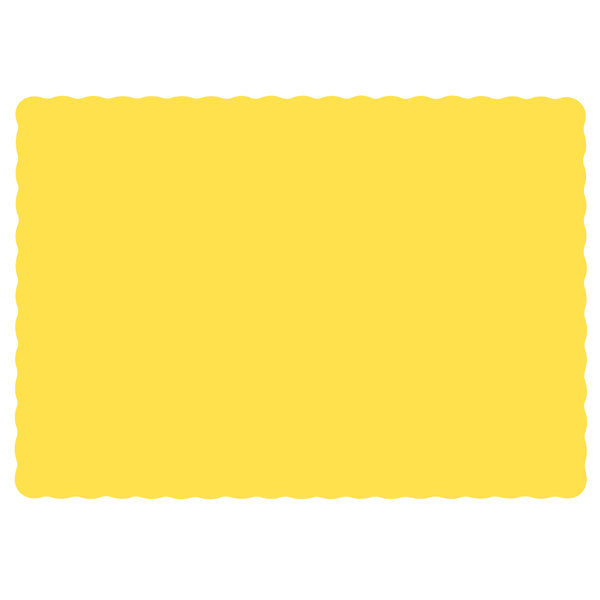 Hoffmaster 310553 10 inch x 14 inch Yellow Colored Paper Placemat with Scalloped Edge - 1000/Case
