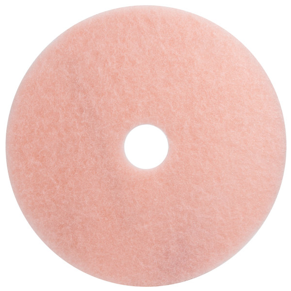 "3M 3600 Eraser 28"" Pink Burnishing Floor Pad - 5/Case Main Image 1"