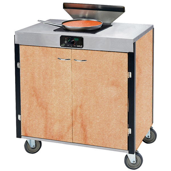 """Lakeside 2065 Creation Express Mobile Cooking Cart with 1 Induction Burner, 1 Filtration Unit, and Hard Rock Maple Laminate Finish - 22"""" x 34"""" x 40 1/2"""""""