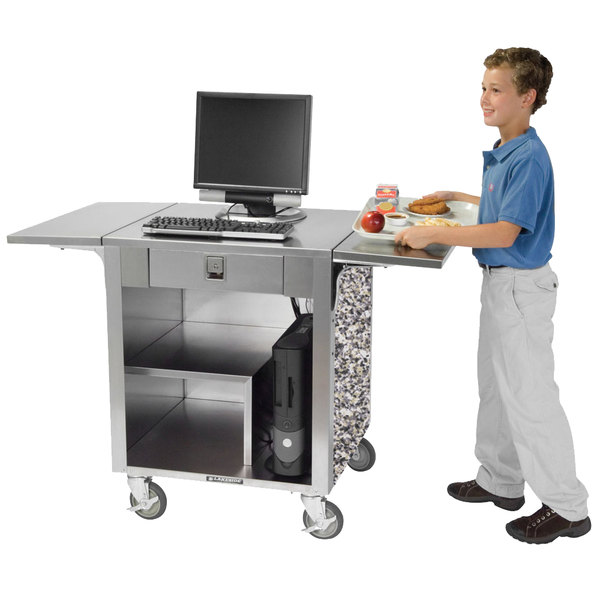 Lakeside 641GS Stainless Steel Cash Register Stand with Gray Sand Laminate Finish Main Image 1